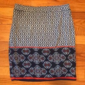 Max Studio Navy Floral Print Pencil Skirt. Size M